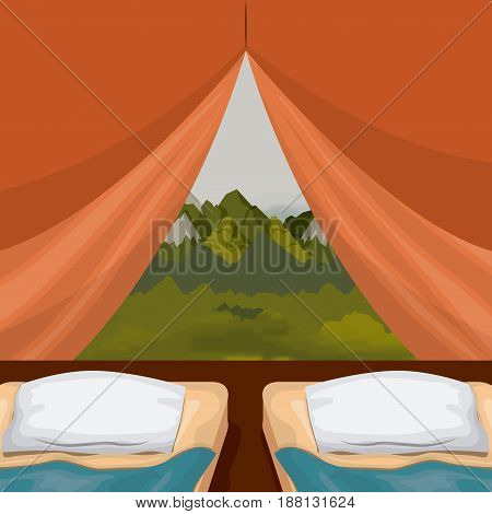 colorful background interior camping tent with double pad and landscape scenary outside vector illustration