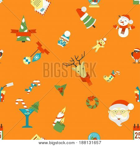 Christmas Seamless Pattern Background. Colorful. Simple and Minimalistic Style. Vector