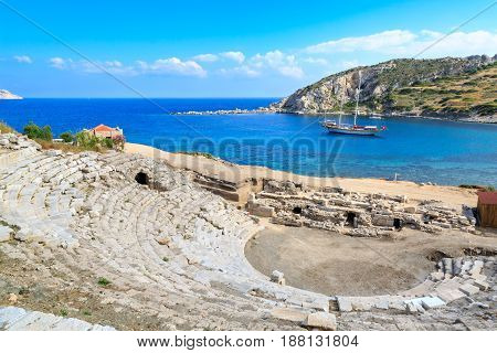 Amphitheater of ancient greek city knidos in Datca Turkey