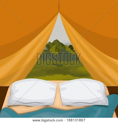 colorful background interior camping tent with pad and landscape scenary outside vector illustration