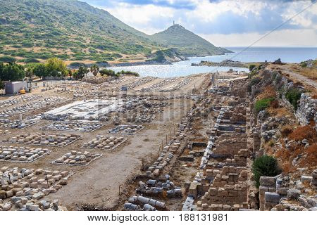 Market place of ancient city of knidos in Datca Turkey