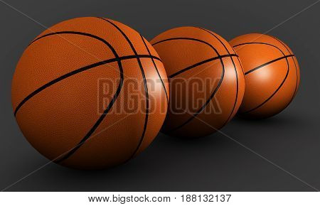 Three basketballs on a gray background Gymnasium, 3d, render