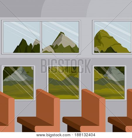 colorful background interior train with a passenger compartment row chairs and landscape scenary outside vector illustration