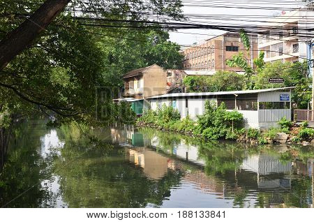 House Village On Canal Side In Bangkok