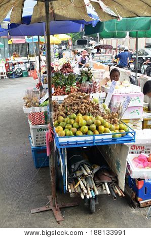 Sell Of Fresh Local Fruit On The Street In Bangkok