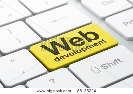 Web development concept: computer keyboard with word Web Development, selected focus on enter button background, 3D rendering