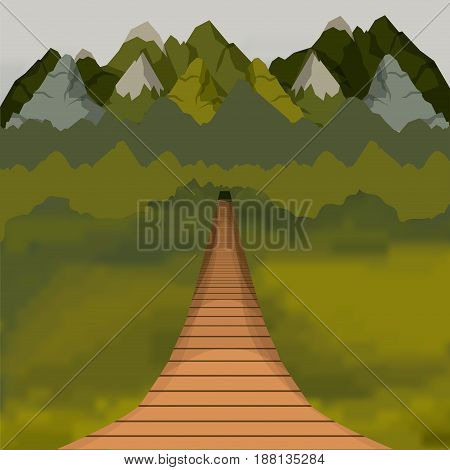 colorful background of outside suspension bridge without railing and forest scenary vector illustration