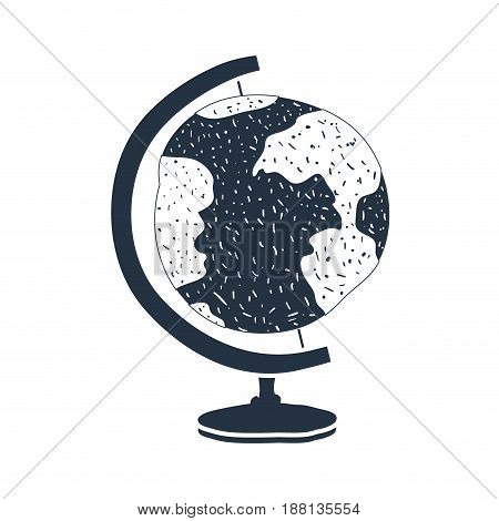 white background with dark blue hand drawn silhouette of globe earth vector illustration
