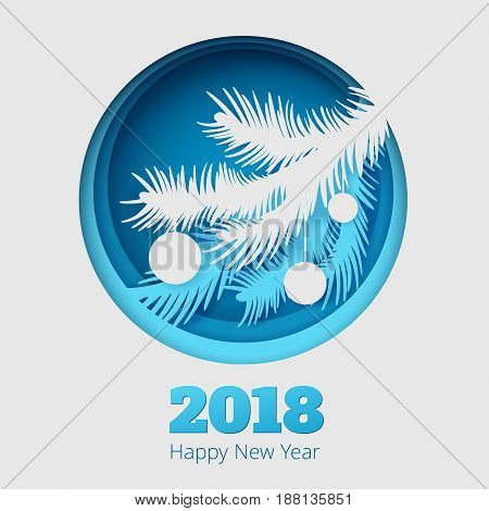 Christmas illustration with fir branch and balls on blue background
