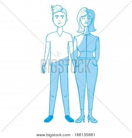 silhouette nice couple with hairstyle and casual wear, vector illustration