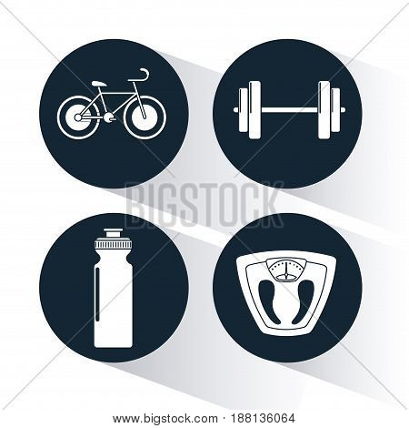dark blue circular frame with silhouette set of elements cardio exercises vector illustration
