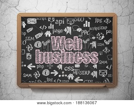 Web development concept: Chalk Pink text Web Business on School board background with  Hand Drawn Site Development Icons, 3D Rendering