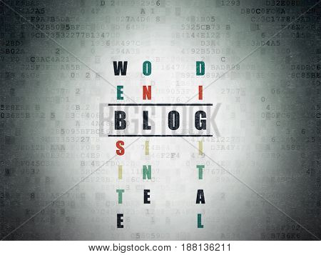 Web development concept: Painted black word Blog in solving Crossword Puzzle on Digital Data Paper background