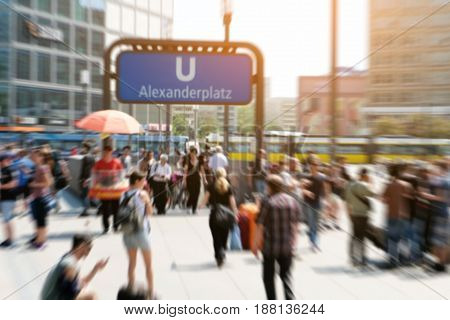Crowds Of People In Motion Blur - Alexanderplatz In Berlin City
