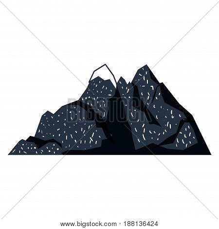 white background with dark blue hand drawn silhouette of mountain with snow on top vector illustration