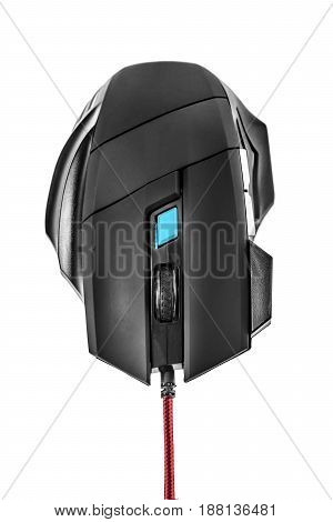 Gamers wireless black laser computer mouse isolated on white background.
