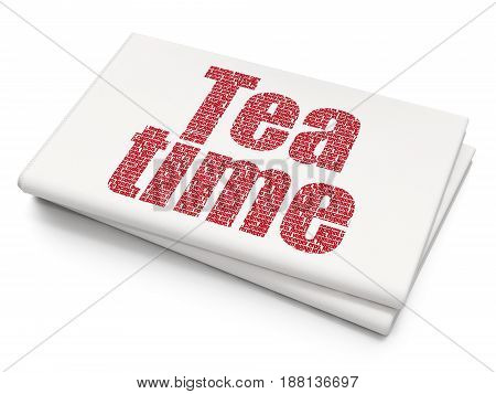 Time concept: Pixelated red text Tea Time on Blank Newspaper background, 3D rendering