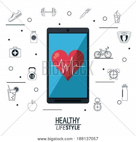 white background with smartphone with app heartbeat and silhouette sport elements vector illustration