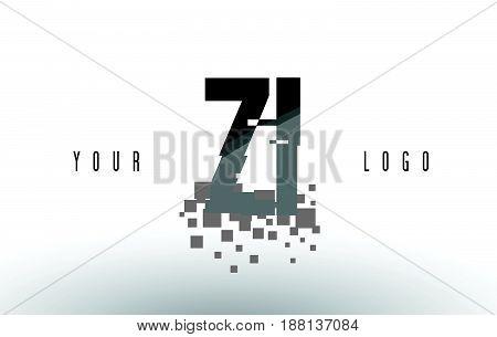 Zi Z I Pixel Letter Logo With Digital Shattered Black Squares