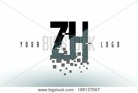 Zh Z H Pixel Letter Logo With Digital Shattered Black Squares