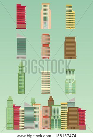 Skyscraper offices flat business buildings set with city skyline