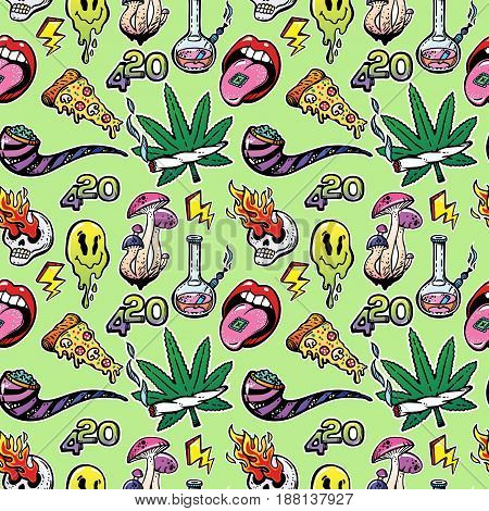 Stoned trippy drug theme and cool psychedepic character elements vector seamless vintage pattern with in cartoon 90s comic style. For wallpaper, pattern fills, web page background, surface textures.