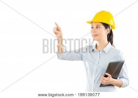 Smiling Woman Builder In Safety Helmet