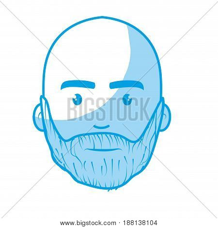 silhouette nice face man with beard and bald, vector illustration