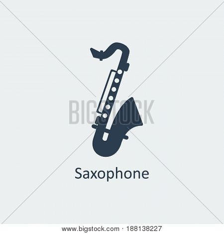 Saxophone icon. Musical symbol. Silhouette vector icon