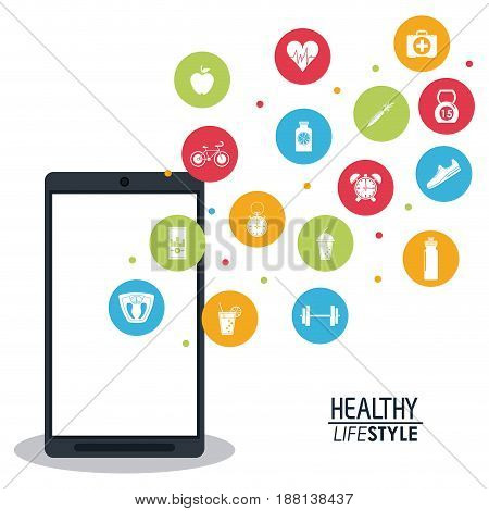 smartphone with app silhouette healthy lifestyle icons vector illustration