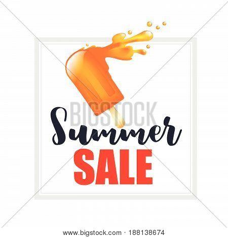 Orange splash ice cream bar with text summer sale isolated on the white background vector illustration eps10