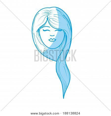 silhouette cute woman face with hairstyle, vector illustration