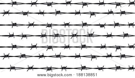 Several rows of sharp rusty barbed wire isolated on white background