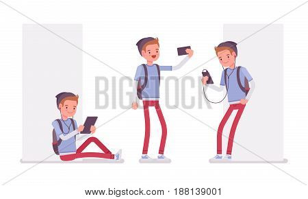 Teenager boy wearing cute beanie, messenger rucksack, casual slim fit, making selfie, using different gadgets, sitting and standing, vector flat style cartoon illustration, isolated, white background