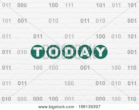 Timeline concept: Painted green text Today on White Brick wall background with Binary Code