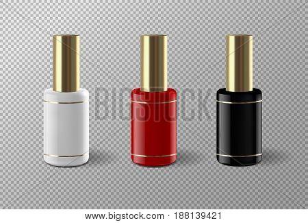 Set of realistic vector nail polish package