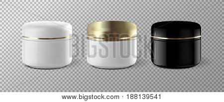 Realistic Cosmetic Cream Container Template Mock Up set. Vector illustration EPS10.