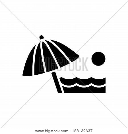 Beach Umbrella Icon. Beach And Vacation Icon Vector Illustration