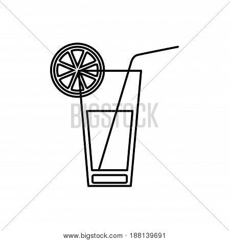 black silhouette of cocktail drink with lemon slice vector illustration