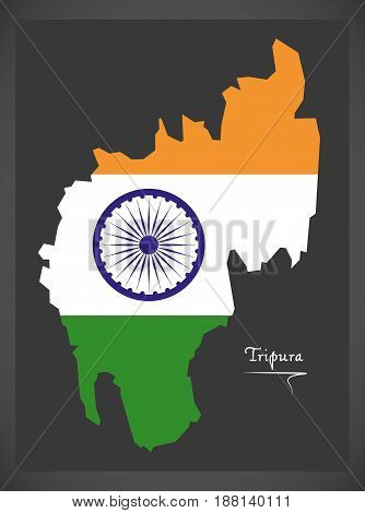Tripura Map With Indian National Flag Illustration