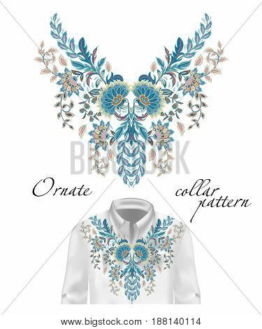Vector embroidery ethnic flowers neck pattern. Blue flower design graphics fashion wearing. Presented on the white shirt layout.