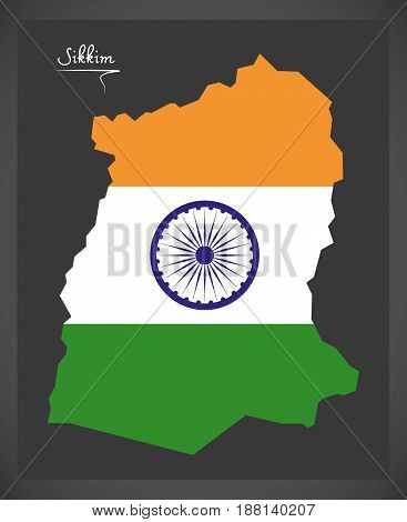Sikkim Map With Indian National Flag Illustration