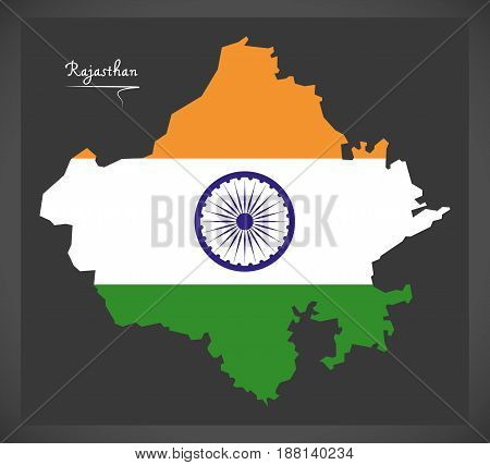 Rajasthan Map With Indian National Flag Illustration