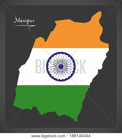 Manipur Map With Indian National Flag Illustration