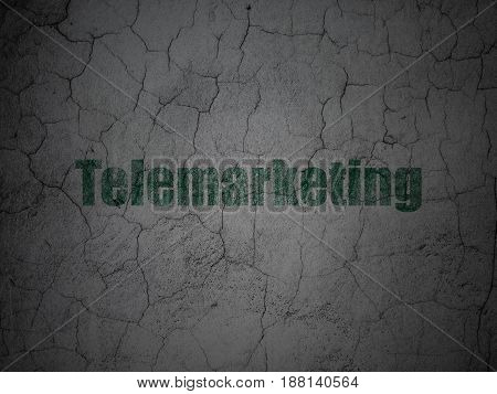 Marketing concept: Green Telemarketing on grunge textured concrete wall background