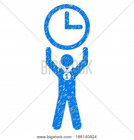Grunge Time Champion icon with grunge design and scratched texture. Unclean vector blue pictogram for rubber seal stamp imitations and watermarks. Draft emblem symbol.