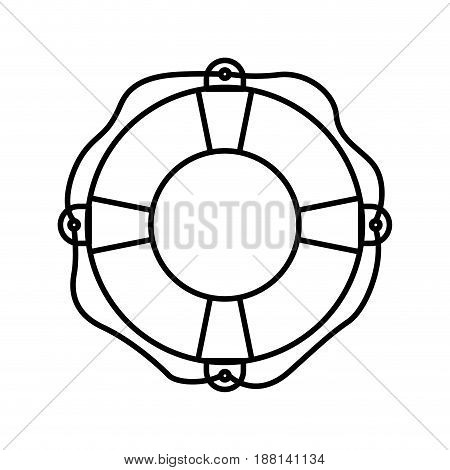 black silhouette of flotation hoop with rope vector illustration