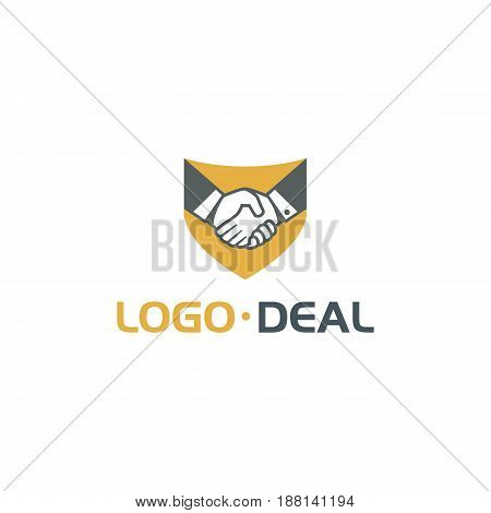 Handshake logo. Vector logo useful for business related to contracts, deals, support, agreements, etc