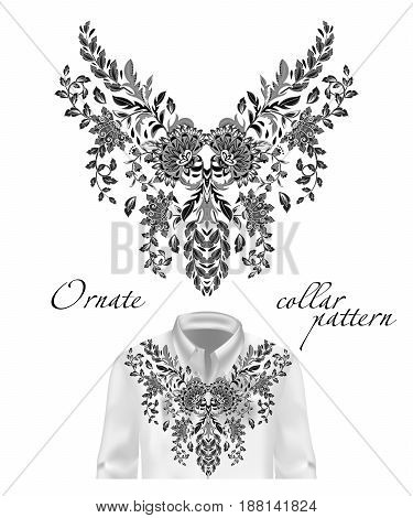 Vector embroidery ethnic flowers neck pattern. Black and white flower design graphics fashion wearing. Presented on the white shirt layout.