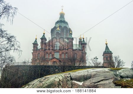 Uspenski Cathedral is an Eastern Orthodox cathedral in Helsinki Finland dedicated to the Dormition of the Theotokos (the Virgin Mary).
